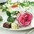 romântico · jantar · rosa · prato · fundo · beleza - foto stock © saddako2