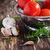 fresche · maturo · pomodori · tavolo · in · legno · legno · verde - foto d'archivio © saharosa