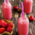 fraise · smoothie · verre · bois · nature · été - photo stock © saharosa