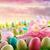 イースターエッグ · ピンク · チューリップ · 草 · 青空 · イースター - ストックフォト © sandralise