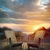 chaise · en · bois · coucher · du · soleil · plage · lac · ciel · paysage - photo stock © sandralise