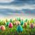 renkli · paskalya · yumurtası · alan · çim · mavi · gökyüzü · gökyüzü - stok fotoğraf © sandralise