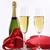 dos · gafas · champán · presente · rojo · espejo - foto stock © sandralise