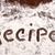word recipe written in white flour on wooden table stock photo © sandralise