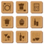 Restaurant icons on cork textured background in wooden frame stock photo © sanjanovakovic