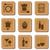 Restaurant icons on cork textured background in wooden frame stock photo © sanjanovakovic