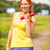 sani · donna · sorridente · manubri · parco · ritratto - foto d'archivio © sapegina