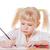 dziewczynka · rysunek · ołówki · czerwony · biały · dziewczyna - zdjęcia stock © sapegina