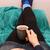 nő · megnyugtató · forró · ital · tart · forró · kávé - stock fotó © sarahdoow