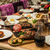 servido · banquete · tabela · copos · de · vinho · óculos · comida - foto stock © sarymsakov