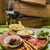 catering · vinho · tinto · salame · queijo · comida · jantar - foto stock © sarymsakov
