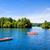 dağ · göl · dağlar · küçük · tekneler · ağaç - stok fotoğraf © sbonk