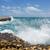 waves crashing on rocks at devils bridge antigua stock photo © scheriton