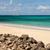 tropical caribbean beach seascape with motor yacht stock photo © scheriton