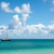 beautiful sunny seascape with anchored yacht and blue sky stock photo © scheriton