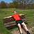 tired man exercising resting on sunny park bench stock photo © scheriton