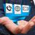üzletember · modern · digitális · origami · ikon · alkalmazás - stock fotó © sdecoret