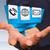 empresário · moderno · digital · origami · ícone · aplicação - foto stock © sdecoret