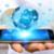 empresario · red · social · moderna · teléfono · móvil · mano · aplicación - foto stock © sdecoret