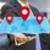 empresário · digital · mapa · mãos · flutuante - foto stock © sdecoret