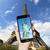 telefone · móvel · mundo · globo · tridimensional · isolado · branco - foto stock © sdecoret