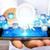бизнесмен · лампочка · цифровой · иконки · молодым · человеком - Сток-фото © sdecoret