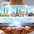 empresário · escolher · férias · metade · planeta · terra · mãos - foto stock © sdecoret