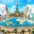 Denkmäler · Welt · Illustration · berühmt · Welt · Sonnenuntergang - stock foto © sdecoret