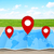 pin map iconon a blue map stock photo © sdecoret