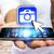 moço · moderno · móvel · conectar · wi-fi · telefone · móvel - foto stock © sdecoret