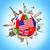 世界中 · フラグ · エジプト · 青 · 孤立した · 白 - ストックフォト © sdecoret