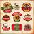 ayarlamak · vektör · bağbozumu · pizza · etiketler · soyut - stok fotoğraf © SelenaMay