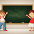 vector little boy and girl at the blackboard in the classroom stock photo © sgursozlu