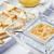 Breakfast fresh caviar on ice with toasts stock photo © shivanetua