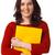 lány · citromsárga · mappa · fiatal · női · diák - stock fotó © shyshka
