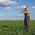 rolnik · siano · człowiek · niebieski · biały · uśmiechnięty - zdjęcia stock © simazoran