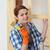 jong · meisje · werknemer · schilderij · nieuwe · houten · deur - stockfoto © simazoran