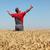 mezőgazdaság · gazda · kézmozdulat · búzamező · kétségbeesett · gesztikulál - stock fotó © simazoran