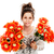 teenage girl holding two bunches of fake flowers stock photo © slp_london