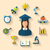 flat icons of graduation and objects for high school and college stock photo © smeagorl