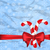 christmas background with gift bow and sweet canes snowflakes t stock photo © smeagorl