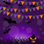 halloween background with pumpkins and hanging flags stock photo © smeagorl