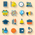 illustration set of education flat colorful icons with long shad stock photo © smeagorl