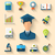 flat icons of magister and objects for high school and college e stock photo © smeagorl