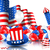 American Background with Balloons, Party Hats, Firework Rocket, Flag and Confetti stock photo © smeagorl