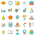 set flat line colorful icons of school equipment stock photo © smeagorl