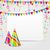 celebration card with party hats confetti and hanging flags stock photo © smeagorl