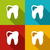 icons of human tooth with shadows in modern flat design style stock photo © smeagorl