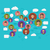 social connection on world map with people icons stock photo © smeagorl