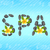 lettering spa made of pebbles and frangipani flowers plum stock photo © smeagorl